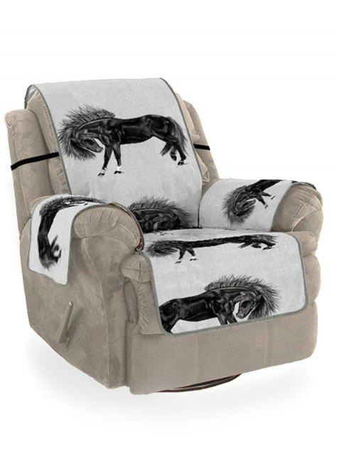 Horse Printed Couch Cover - BLACK SINGLE SEAT