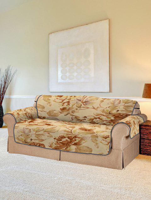 Vintage Flower Print Couch Cover - SUN YELLOW TWO SEATS