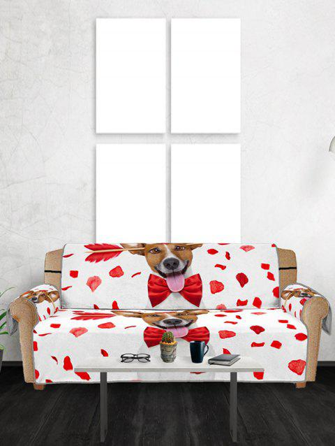 Dog Design Couch Cover - RED THREE SEATS
