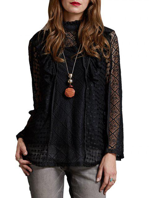 Ruffle Lace Back Button Blouse with Camisole - BLACK L