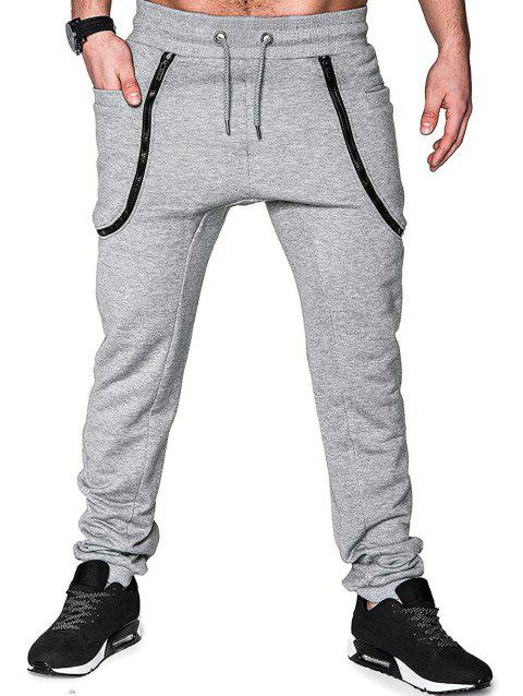 Zippers Solid Color Casual Jogger Pants - LIGHT GRAY XS