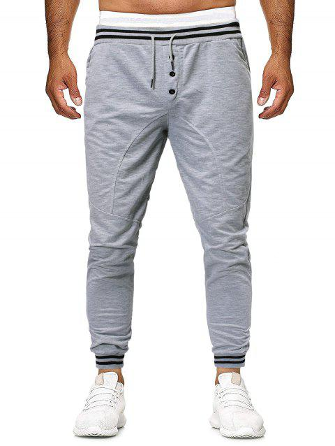 Striped Buttons Casual Drawstring Jogger Pants - LIGHT GRAY XS