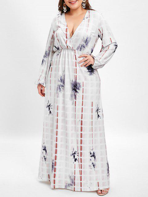 Plus Size Plunging Neck Printed Maxi Dress - WHITE 1X