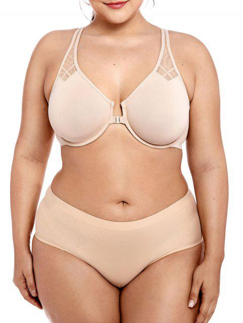 Plus Size Unlined Mesh Panel Bra - BLANCHED ALMOND 90E