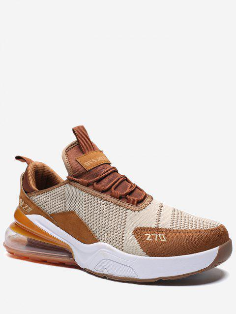 Color Block Knitted Running Sneakers - BROWN EU 44