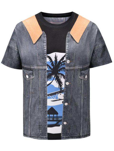 3D Faux Denim Jacket Print Short Sleeve T-shirt - BATTLESHIP GRAY M