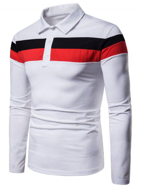 Contrast Striped Top Button Long Sleeve Shirt - WHITE 2XL
