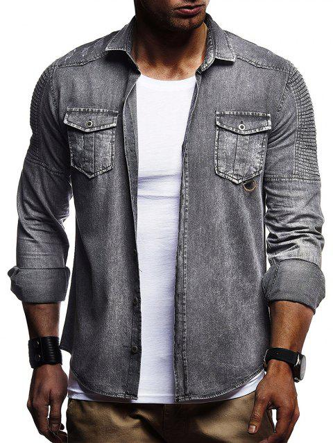 Layered Long Sleeves Button Up Jean Shirt - GRAY L