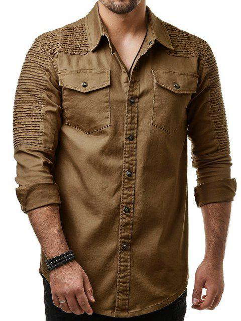 Long Sleeves Button Up Solid Color Casual Shirt - WOOD L
