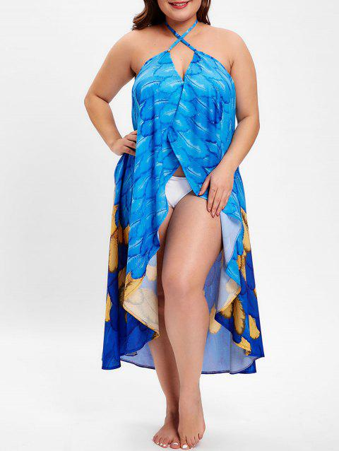 Feather Print Halter Neck Plus Size Cover Up - BLUE 1X