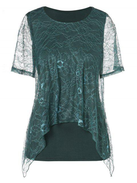 Plus Size Sheer Lace Short Sleeve Blouse - DEEP GREEN 5X