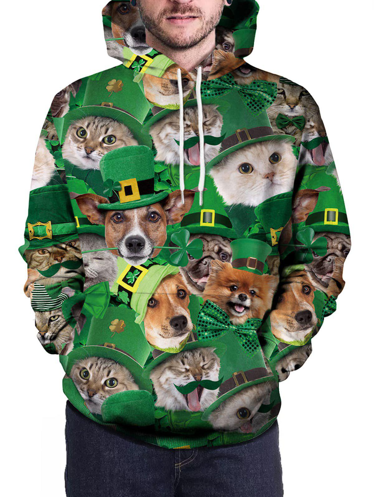 Pullover 3D Cat And Dog Print Hoodie - GREEN L
