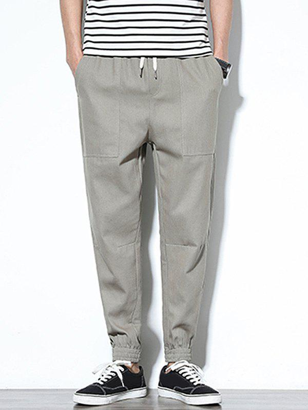 Patch Pockets Drawstring Joggers Pants - GRAY S