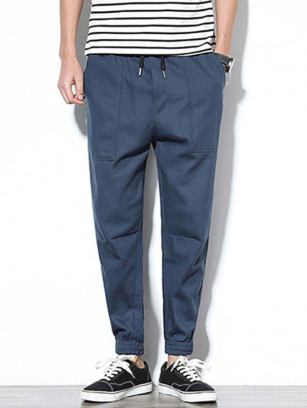 Patch Pockets Drawstring Joggers Pants - BLUE GRAY S