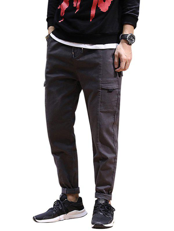 Jogging Drawstring Tapered Pants - DARK GRAY 2XL