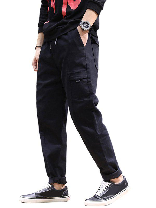 Jogging Drawstring Tapered Pants - BLACK M