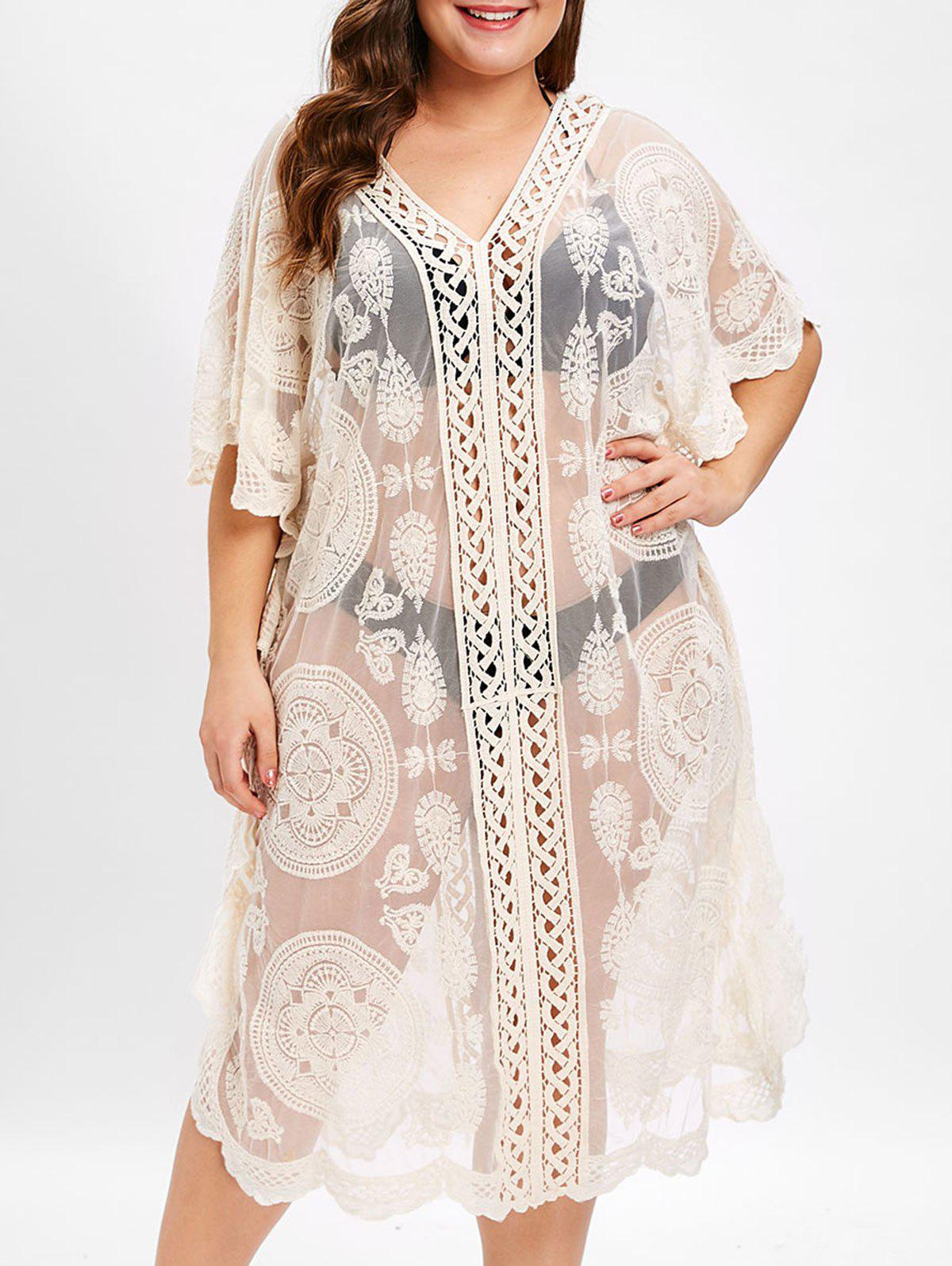 V Neck Plus Size ronde Motif dentelle Cover Up - Beige ONE SIZE