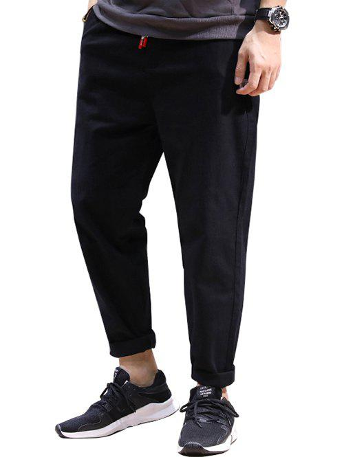 Drawstring Patched High Waisted Joggers Pants - BLACK 2XL