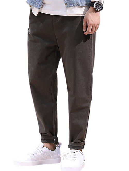 Drawstring Patched High Waisted Joggers Pants - COFFEE M