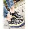 Leopard Square Toe Platform Shoes - GRAY EU 37