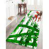 Bamboo and Flowers Pattern Water Absorption Area Rug - DEEP GREEN W16 X L47 INCH