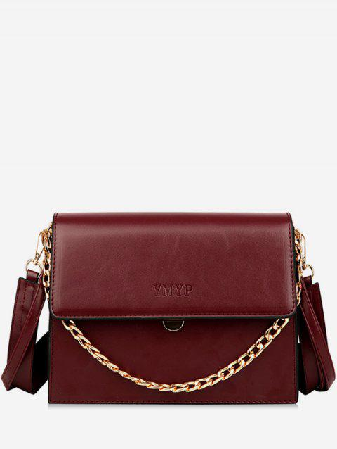 Wide Shoulder Strap Chain Cover Crossbody Bag - RED WINE