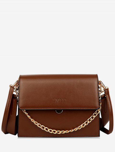 Wide Shoulder Strap Chain Cover Crossbody Bag - BROWN