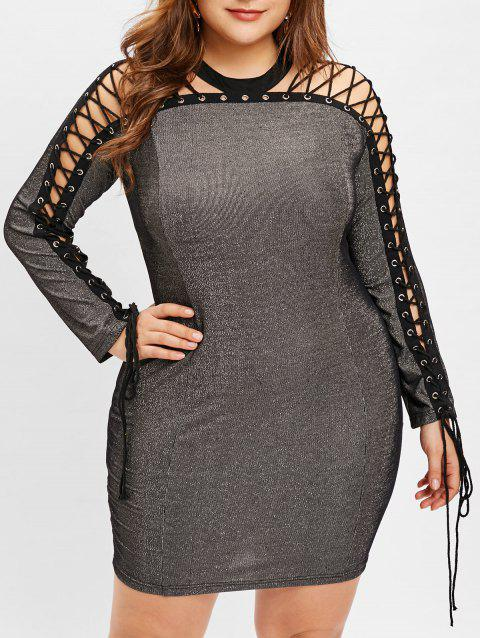 Plus Size See Through Lace Up Dress - GRAY 3X