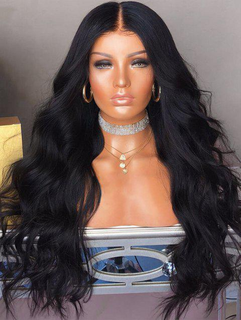 Middle Part Long Capless Body Wave Synthetic Wig - NATURAL BLACK