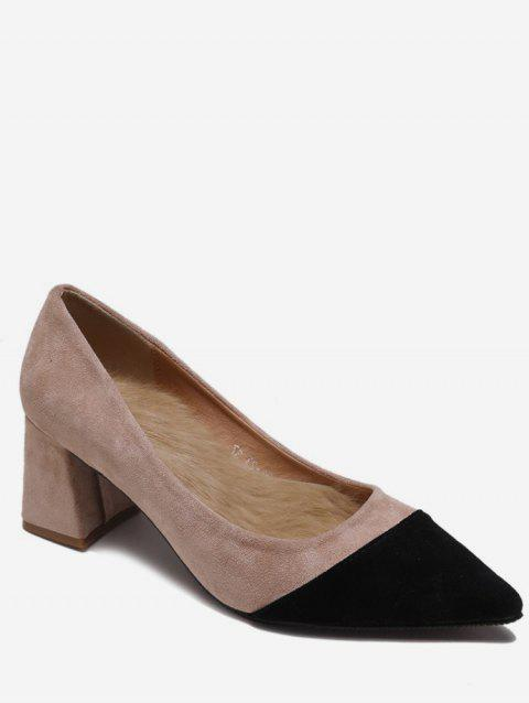 Two Tone Pointed Toe Suede Pumps - APRICOT EU 35