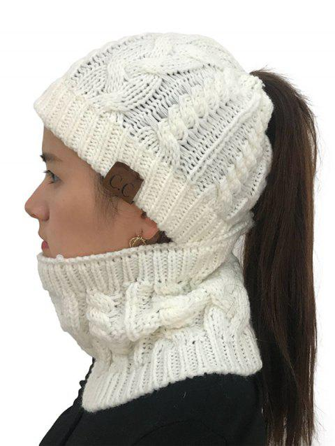Winter Knitted Hat Scarf Set - WHITE 1PC