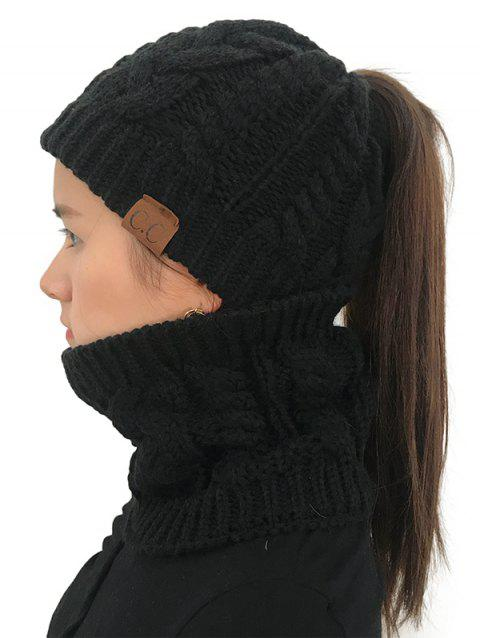 Winter Knitted Hat Scarf Set - BLACK 1PC