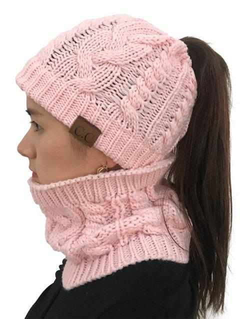 Winter Knitted Hat Scarf Set - PINK 1PC