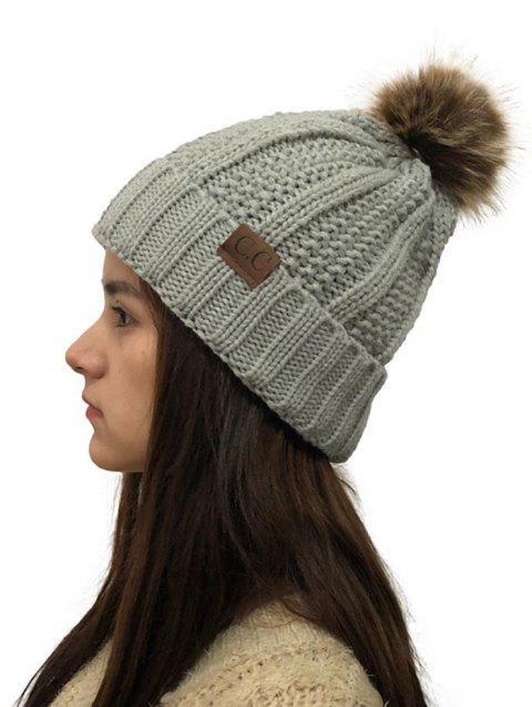 Fuzzy Ball Winter Knitted Hat - LIGHT GRAY 1PC