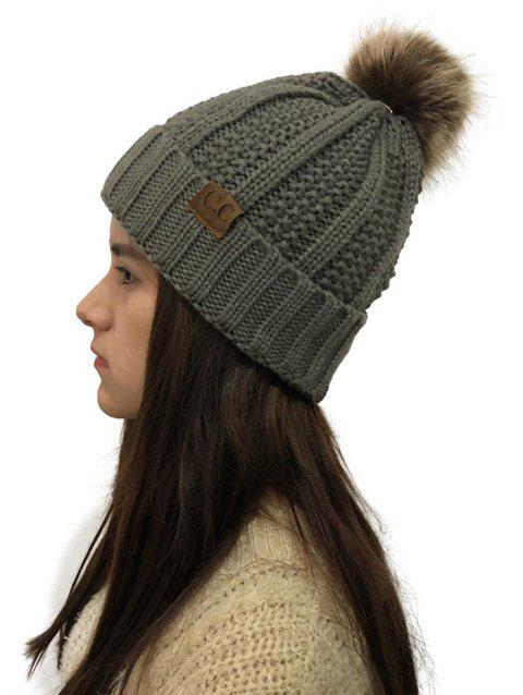 Fuzzy Ball Winter Knitted Hat - DARK GRAY 1PC