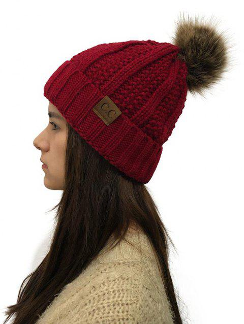 Fuzzy Ball Winter Knitted Hat - RED WINE 1PC