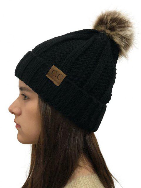 Fuzzy Ball Winter Knitted Hat - BLACK 1PC
