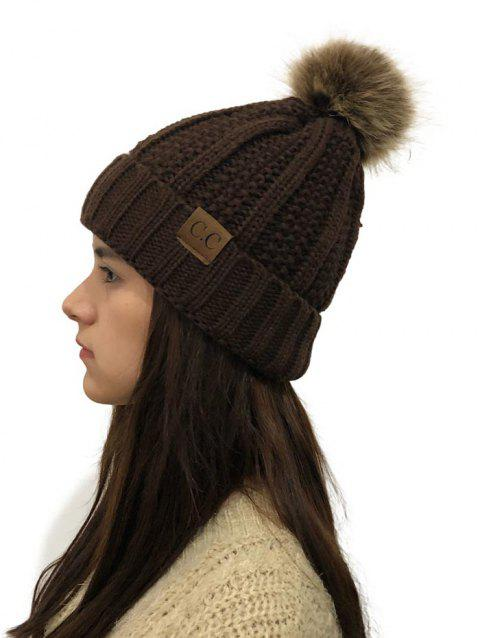 Fuzzy Ball Winter Knitted Hat - COFFEE 1PC