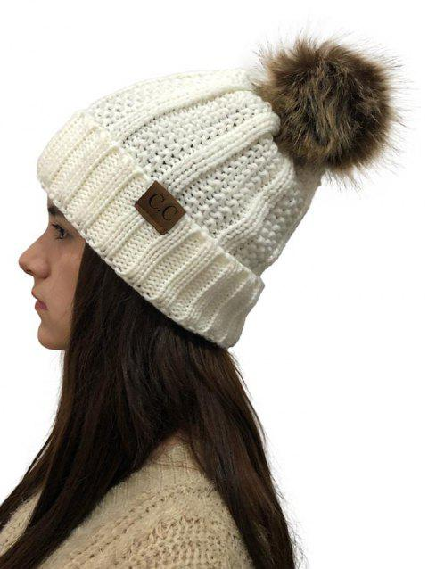 Fuzzy Ball Winter Knitted Hat - WHITE 1PC