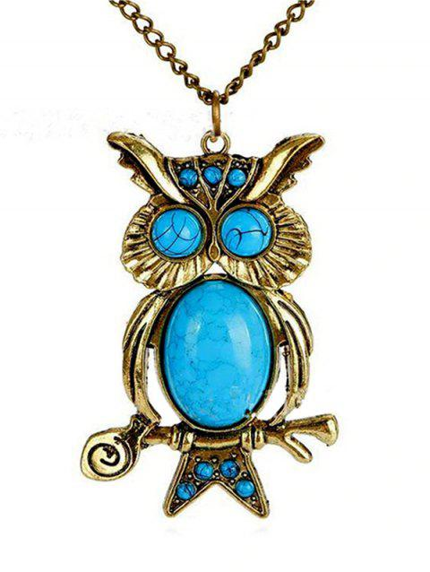 Vintage Turquoise Night Owl Necklace - GOLD