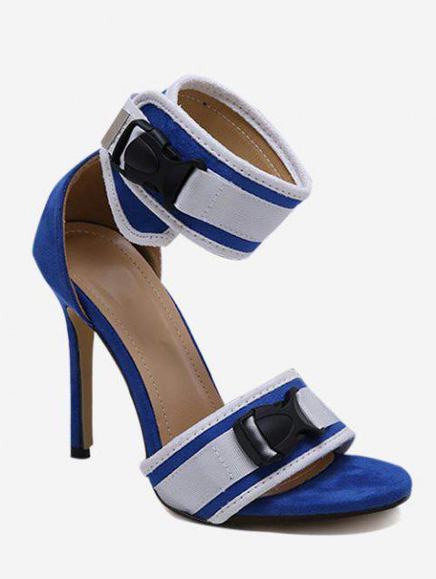 Contrast Color Buckle High Heel Sandals - DODGER BLUE EU 35