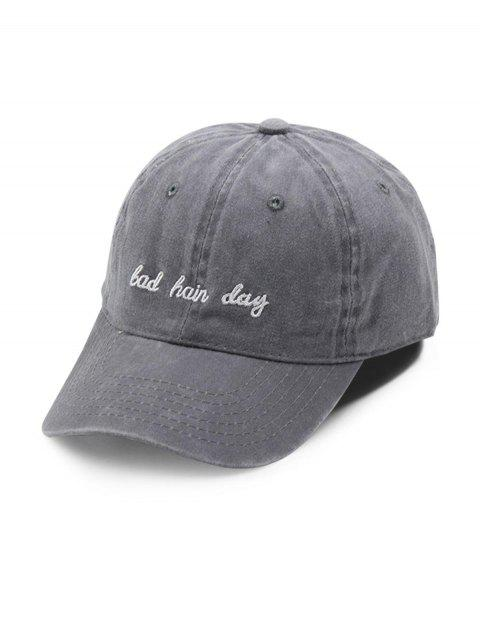 Cotton Vintage Embroidered Letter Baseball Cap - GRAY