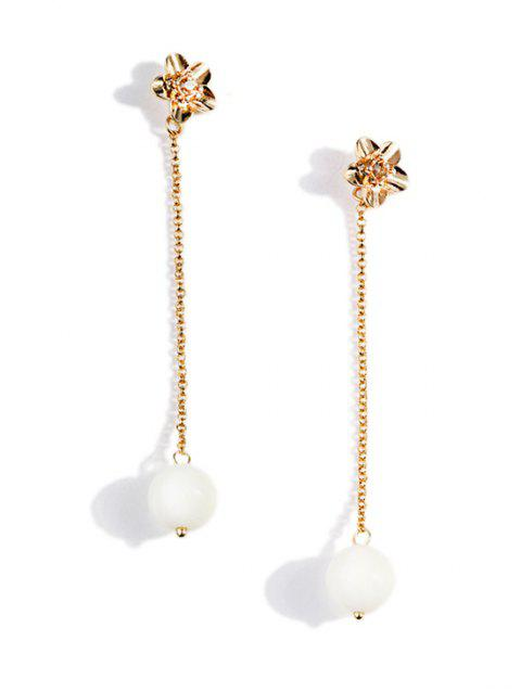 Pearl Chain Dangle Floral Stud Earrings - GOLD