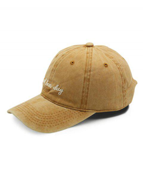 Cotton Vintage Embroidered Letter Baseball Cap - BEE YELLOW