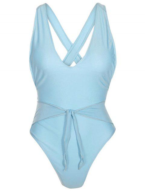 Criss Cross Knotted One-piece Swimwear - DAY SKY BLUE S
