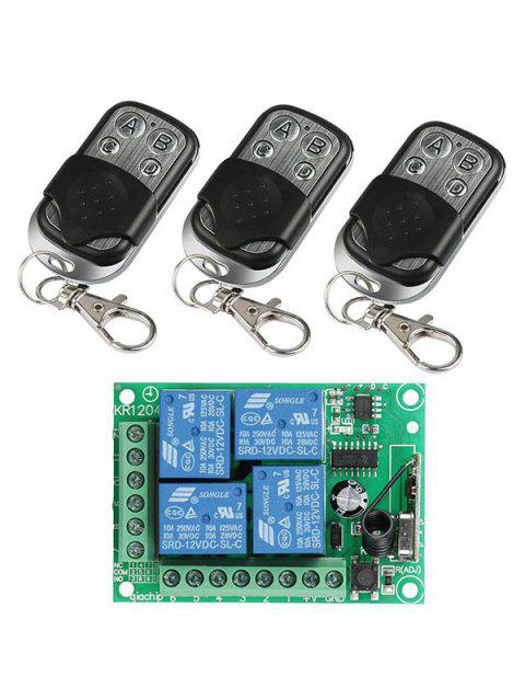 4 Channel Relay Receiver Module and 3 Pcs Wireless Remote Control - BLACK