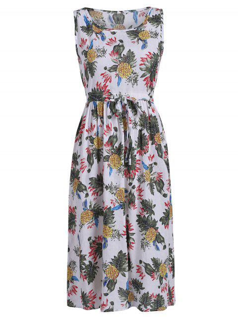 Tropical Print Midi Dress - multicolor M