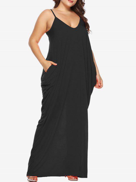 Plus Size Beach Slip Maxi Dress - BLACK 2X
