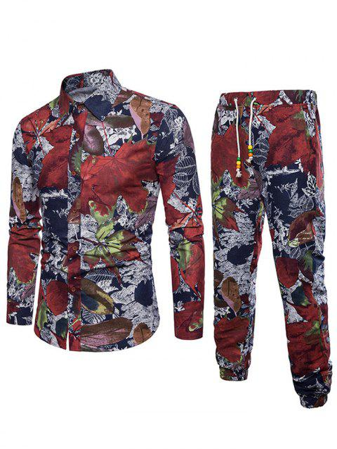 Flowers Leaves Print Casual Shirt with Jogger Pants - multicolor XS