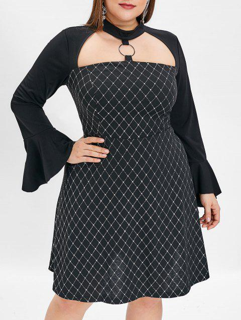 Plus Size Flare Sleeve Shining Print A Line Dress